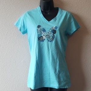 Reebok Blue Butterfly Cotton Shirt